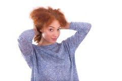 Happy young hispanic teenage girl isolated on white background Stock Images