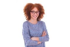 Happy young hispanic teenage girl  on white background Stock Photography