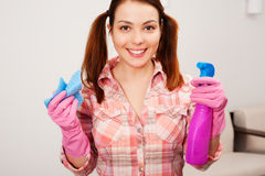 Happy young housewife Stock Photography