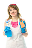 Happy young housewife Stock Photos