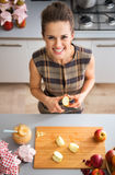 Happy young housewife cutting apple for jam Royalty Free Stock Photography