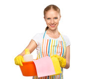 Happy young housewife in glove isolated on white Royalty Free Stock Image