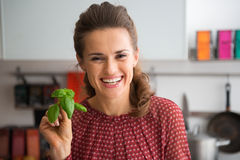 Happy young housewife showing fresh basil Stock Images