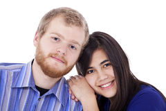 Happy young interracial couple in blue, Stock Photos