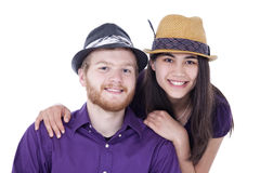 Happy young interracial couple in purple shirts Royalty Free Stock Photography