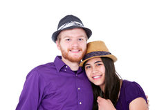 Happy young interracial couple in purple shirts Stock Photo