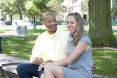 Happy Young Interracial Couple Royalty Free Stock Images