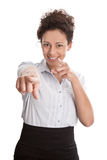 Happy young isolated businesswoman is pointing with finger - smi Royalty Free Stock Image