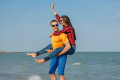 Happy young joyful guy and girl Stock Photography