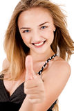Happy Young Lady Showing Thumb'S Up Stock Photography