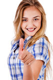 Happy Young Lady Showing Thumb'S Up Royalty Free Stock Photo