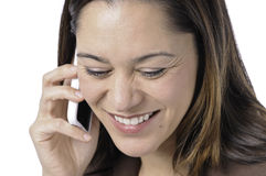 Happy young lady with telephone Royalty Free Stock Photos