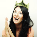 Happy young lovely woman with crown Stock Image