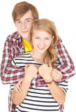 Happy young loving couple embracing Royalty Free Stock Images