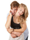 Happy young loving couple embracing Royalty Free Stock Image