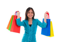 Happy young malay girl during shopping festival with white backg Stock Photos