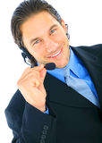 Happy Young Male Caucasian Holding Microphone stock photography