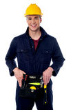 Happy young male construction worker Royalty Free Stock Images