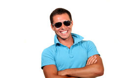 Happy young man. Closeup of a happy young man looking at camera stock photography
