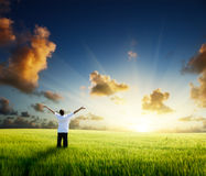 Happy young man. Rest on wheat field stock photography