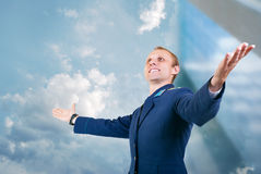 Happy young man aircraft pilot over blue sky  background Stock Photo