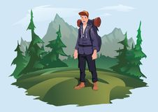 Man with backpack on the background of the mountain landscape. Mountain tourism, hiking, active outdoor recreation. Happy young man with backpack on the Stock Image