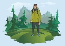 Man with backpack on the background of the mountain landscape. Mountain tourism, hiking, active outdoor recreation. Happy young man with backpack on the Royalty Free Stock Images