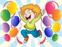 A happy young man with balloons Royalty Free Stock Photos