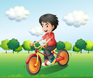 A happy young man biking Stock Images