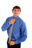Happy Young Man with Blue Shirt and Tie Royalty Free Stock Image