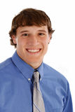 Happy Young Man with Blue Shirt and Tie Portrait Stock Images