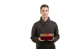 Happy young man carries present Royalty Free Stock Image