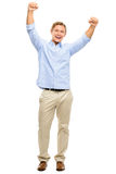 Happy young man celebrating with arms up isolated on white backg Royalty Free Stock Photo
