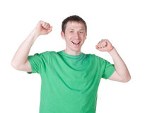 Happy young man celebrating success Stock Image