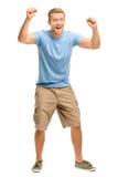 Happy young man celebrating success isolated on white Stock Image