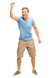 Happy young man celebrating success isolated on white Stock Photography
