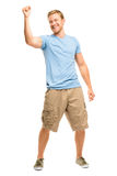 Happy young man celebrating success isolated on white Royalty Free Stock Image