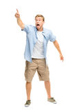 Happy young man celebrating success on white background Royalty Free Stock Photo