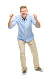 Happy young man celebrating success on white background Stock Photo