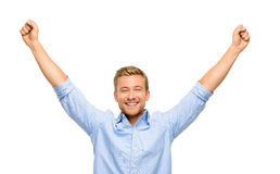 Happy young man celebrating success on white background Royalty Free Stock Photography