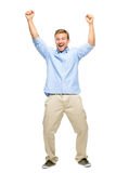 Happy young man celebrating success on white background Stock Images