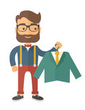 Happy young man chooses a perfect clothe. A happy young man chooses a perfect clothe to buy for him to wear. A contemporary style. flat design illustration with Stock Photo