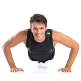 Happy Young Man Doing Pushups Royalty Free Stock Photo