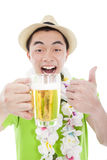 Happy young man drinking beer Stock Photos