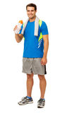 Happy Young Man Drinking Water After Workout Stock Photo