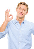 Happy young man framing photograph using fingers isolated on whi Stock Photography