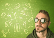 Happy young man with glasses and casual clothes icons Royalty Free Stock Image