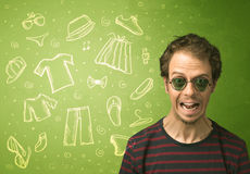 Happy young man with glasses and casual clothes icons Royalty Free Stock Photos