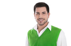 Happy young man in a green shirt isolated on white. Royalty Free Stock Photography