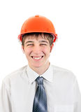 Happy Young Man in Hard Hat Royalty Free Stock Images